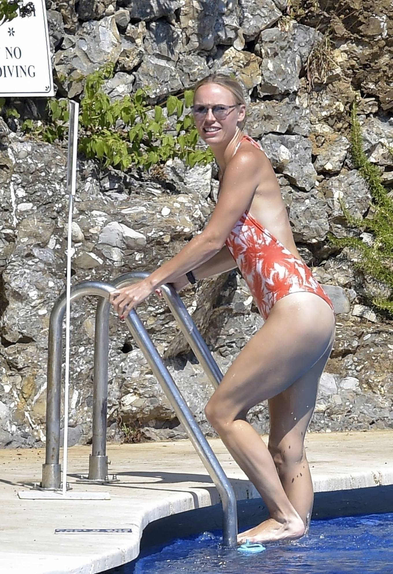 Caroline Wozniacki - In a bikini at a pool in Portofino