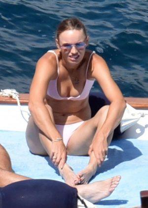 Caroline Wozniacki in Pink Bikini on holiday in Capri