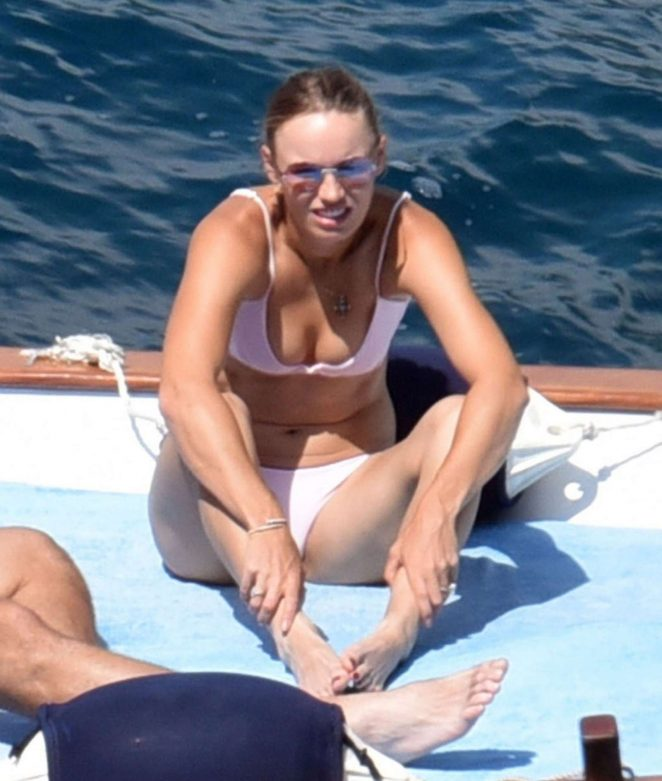 Caroline Wozniacki in Pink Bikini on holiday in Capri