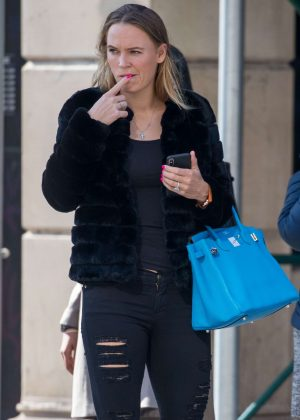 Caroline Wozniacki in Ripped Jeans out in New York