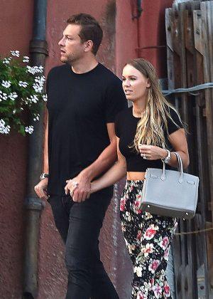 Caroline Wozniacki with fiance David Lee out in Portofino