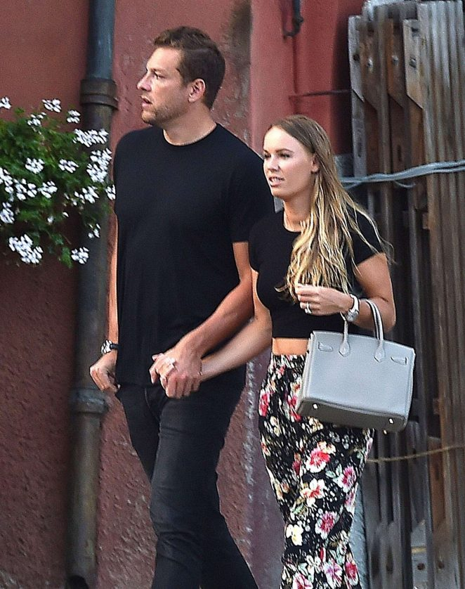 Caroline Wozniacki with fiance David Lee out in Portofino