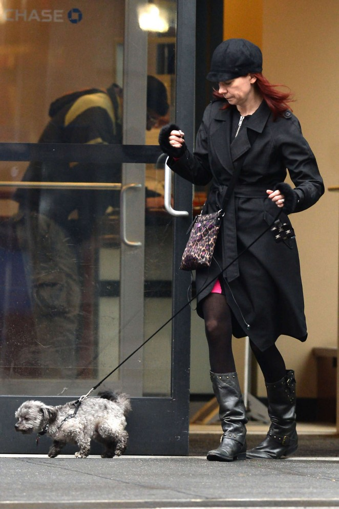 Carrie Preston walking her dog Chumley in NY