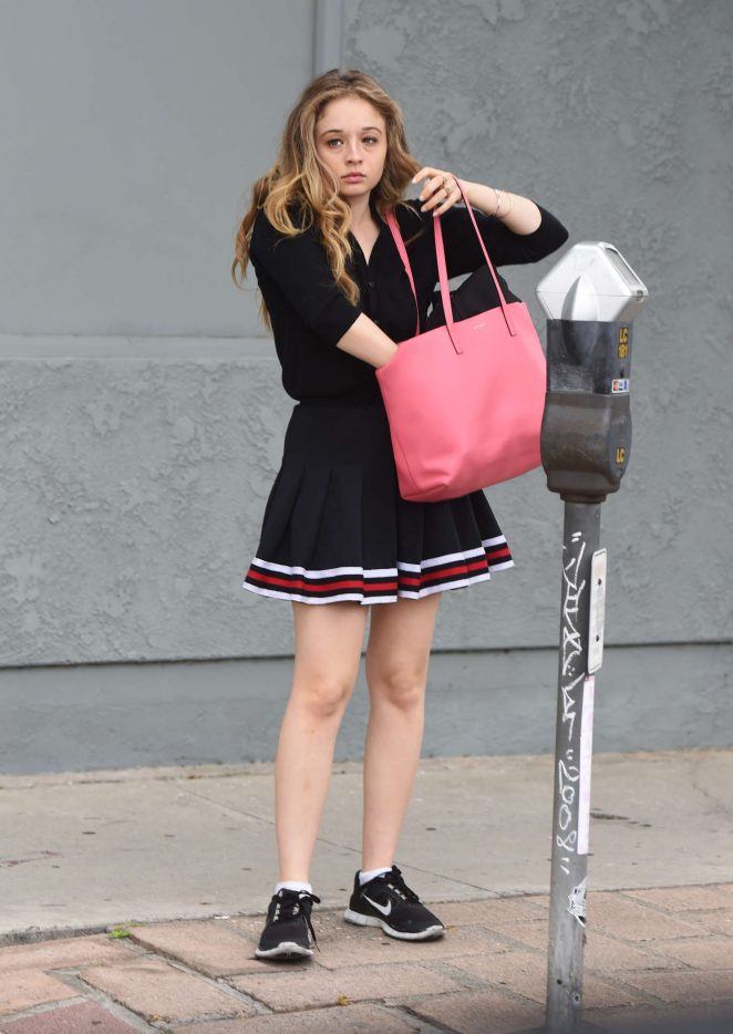 Carson Meyer in a cheerleader outfit out in Los Angeles