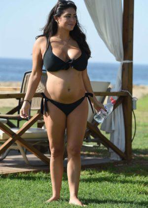 Casey Batchelor in Black Bikini on holiday in Lanzarote