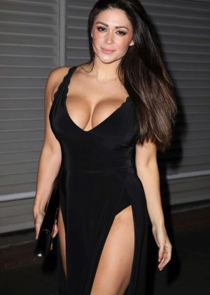 Casey Batchelor in Black Dress Night Out in London