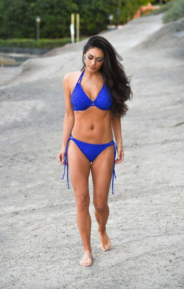 Casey Batchelor in Blue Bikini - Filming for her yoga blitz app in Tenerife
