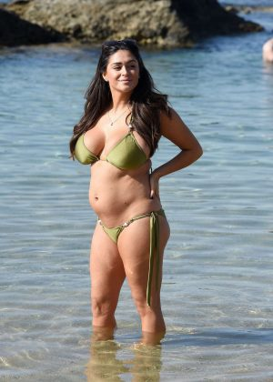 Casey Batchelor in Green Bikini on the beach in Tenerife Pic 9 of 35