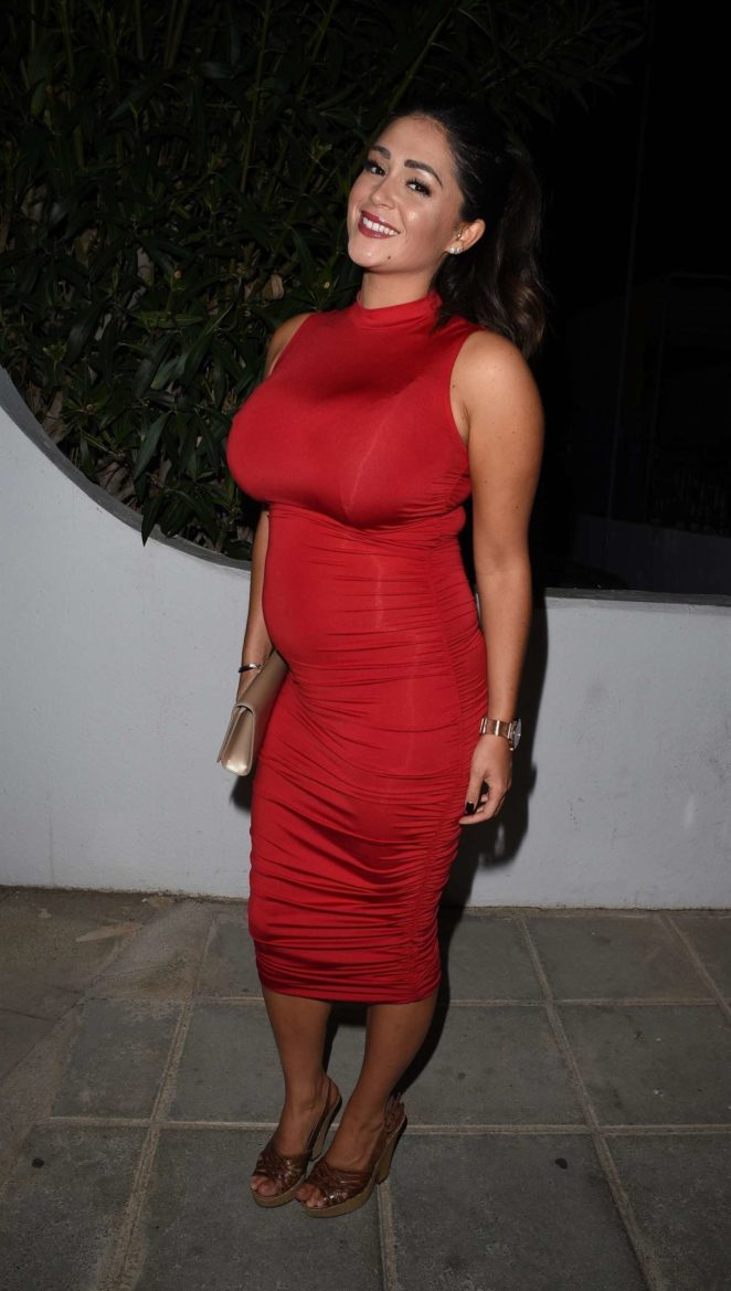 Casey Batchelor in Red Dress in Cyprus