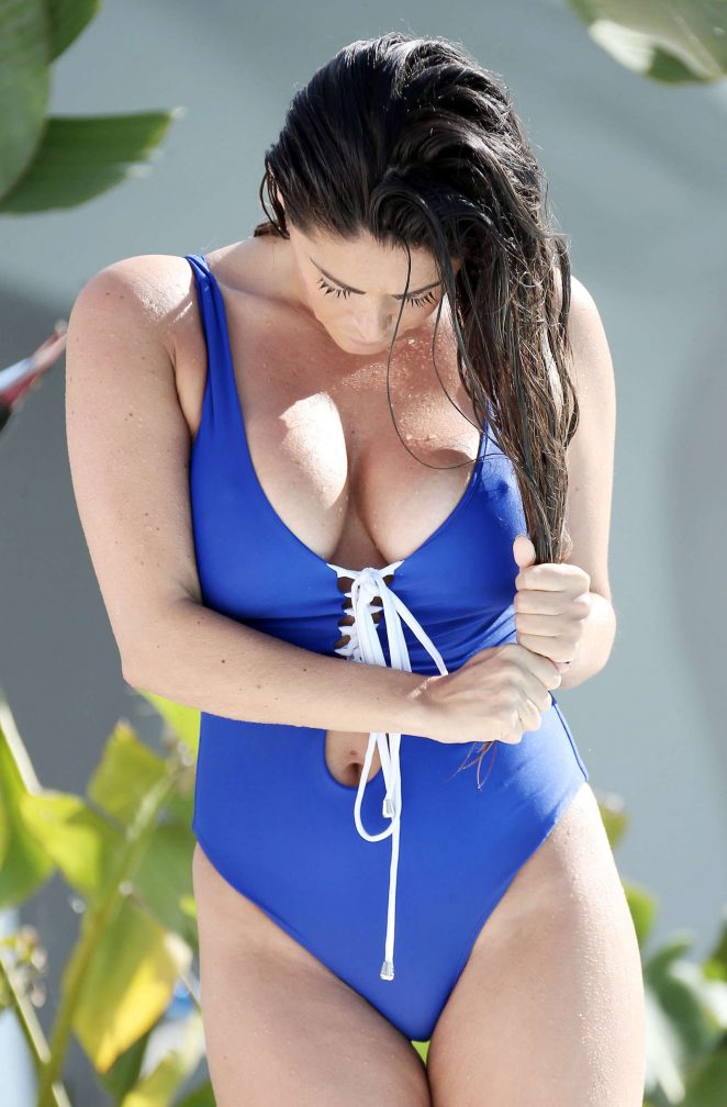 Casey Batchelor in Royal Blue Swimsuit in Marbella