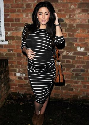 Casey Batchelor in Tight Dress at La Sala Restaurant in Chigwell