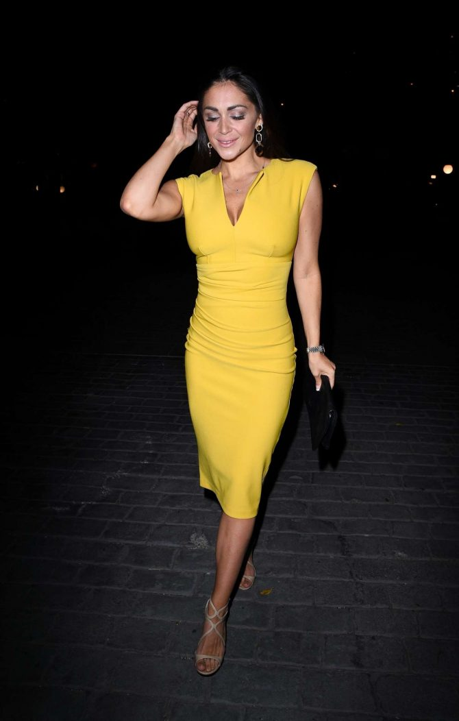 Casey Batchelor in Yellow Dress at Novikov Restaurant in London