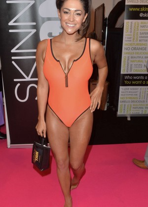 Casey Batchelor in Orange Swimsuit for Skinny Tan Beauty UK Show in Birmingham
