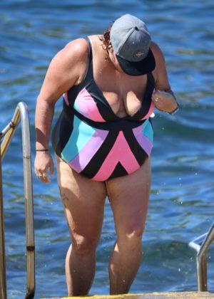Casey Donovan in Swimsuit at Clovelly Beach in Sydney