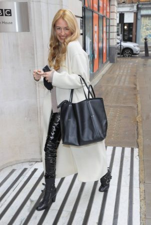 Cat Deeley - In leather and strapped boots arrives for the Steve Wright afternoon show
