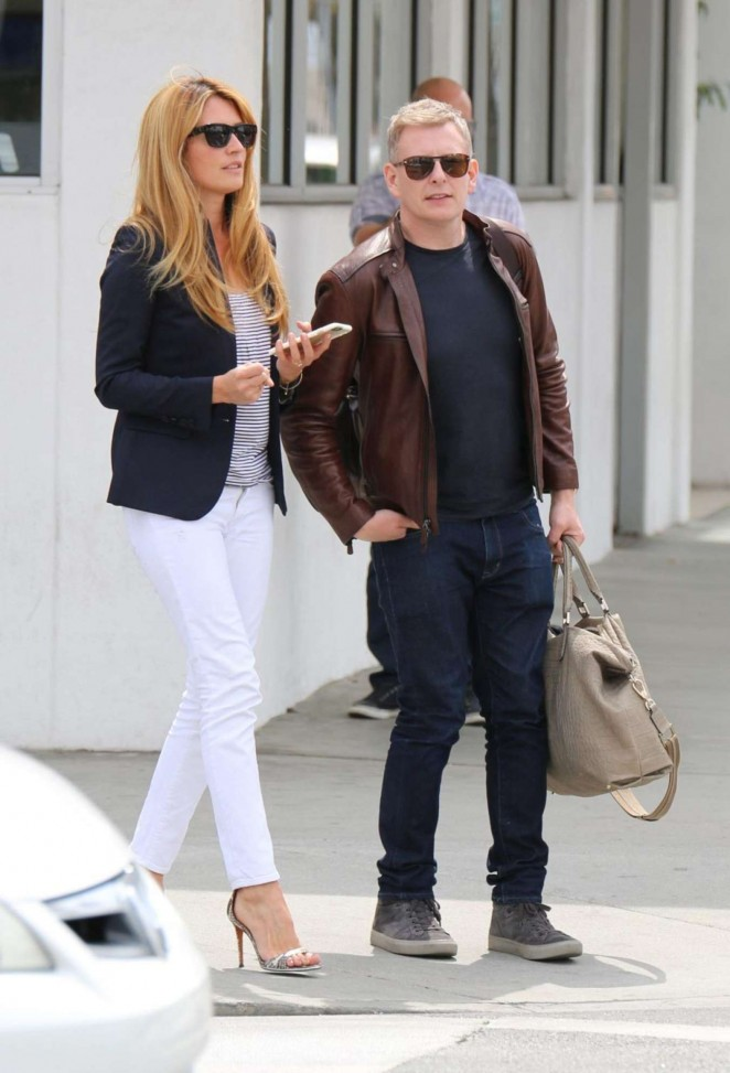 Cat Deeley in White Pants With Husband at E Baldi in Beverly Hills