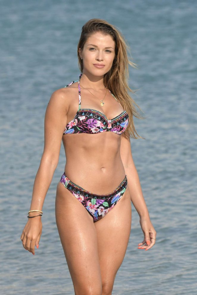 Catarina Sikiniotis in Floral Bikini on holidays in Mykonos