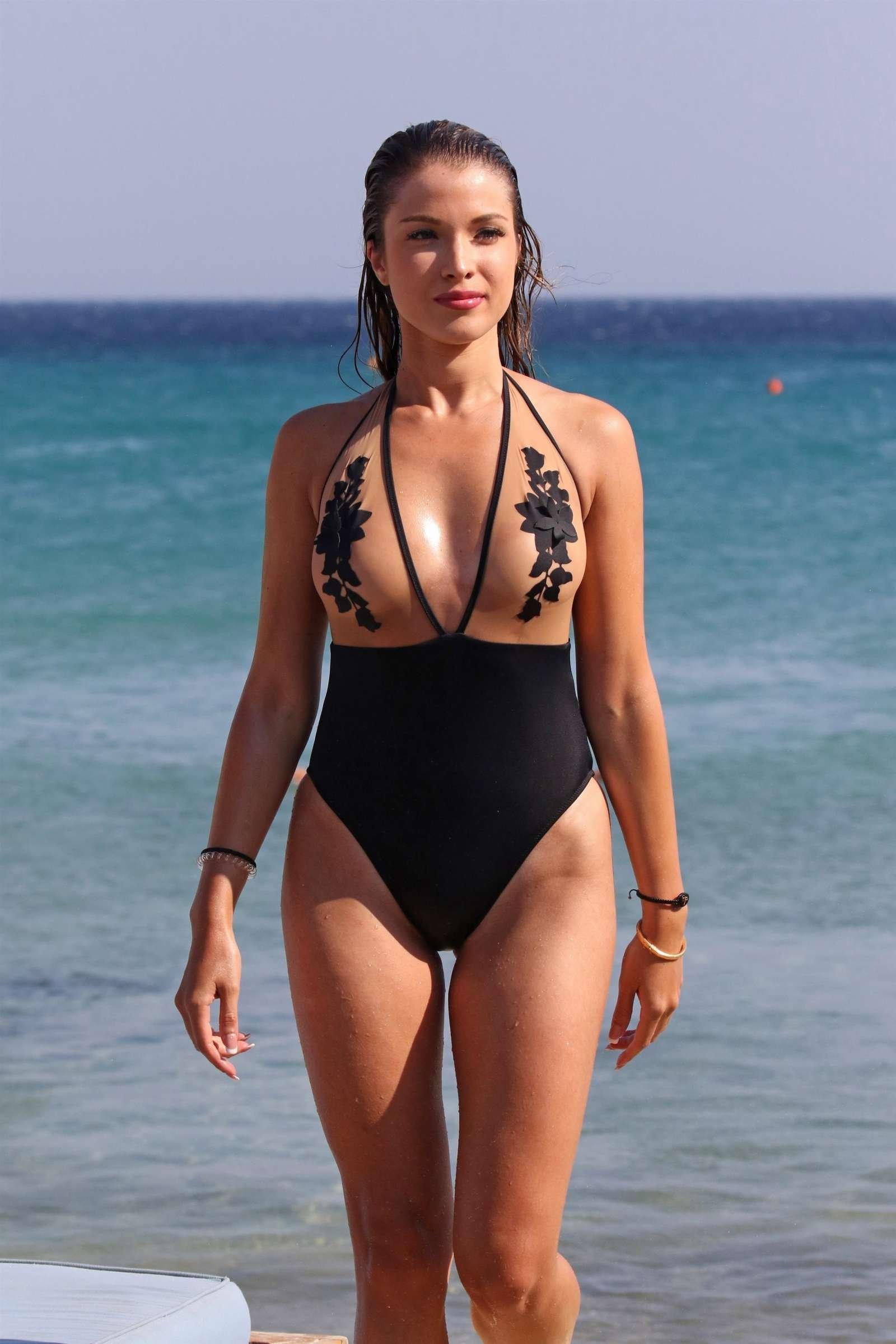 Catarina Sikiniotis in Swimsuit at the beach in Mykonos