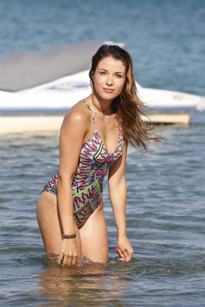 Catarina Sikiniotis in Swimsuit on the beach in Mykonos