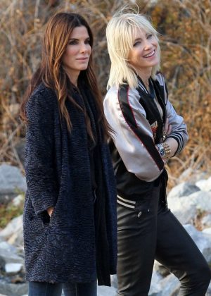 Cate Blanchett and Sandra Bullock on the set of 'Oceans Eight' in NY