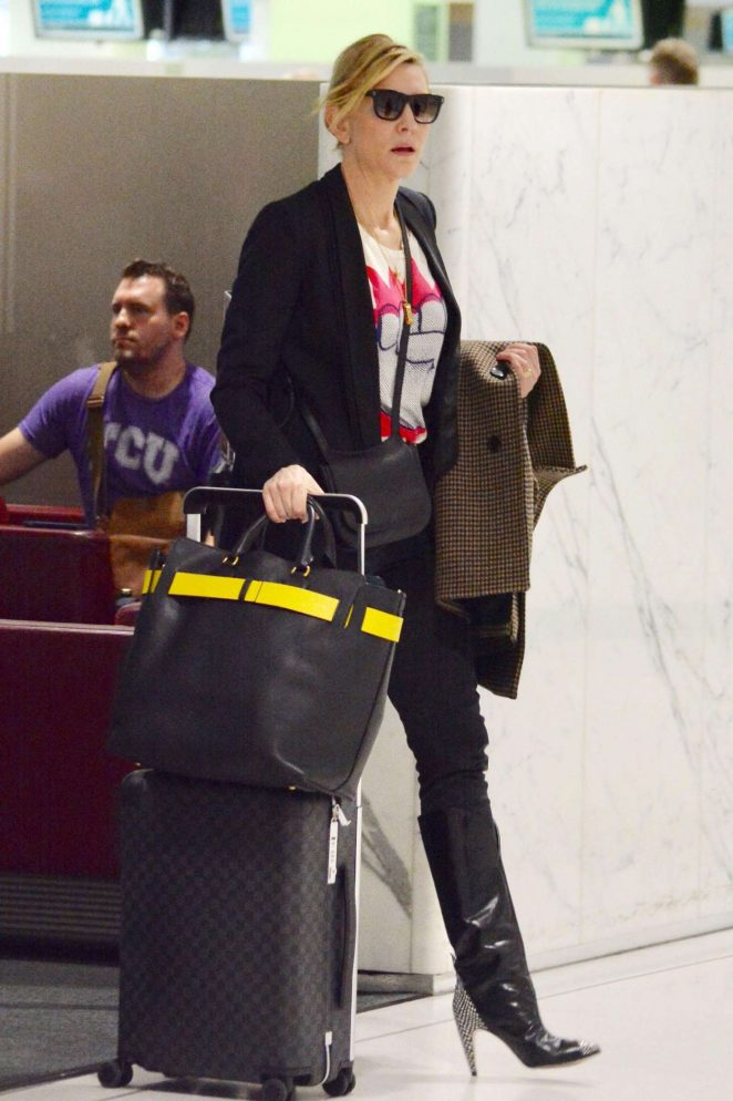 Cate Blanchett at an airport in Australia