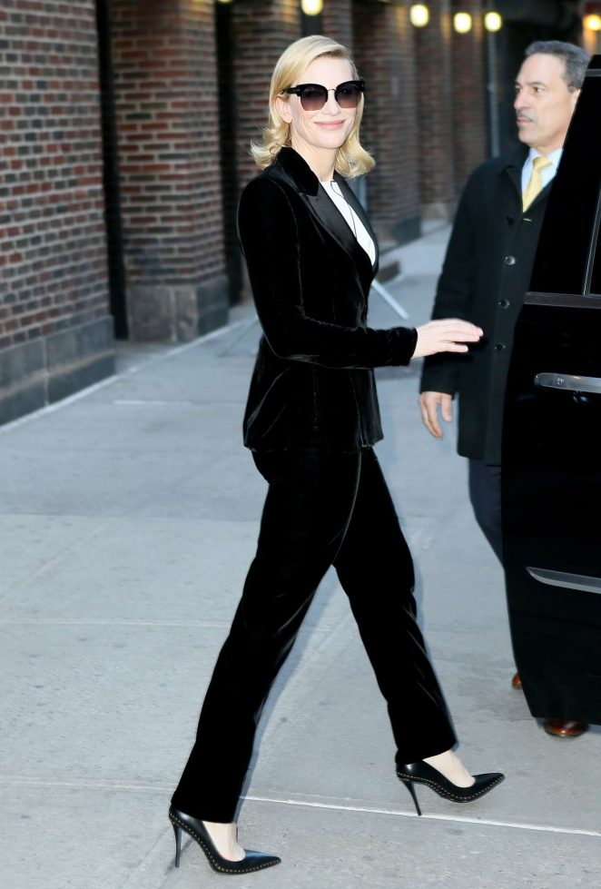 Cate Blanchett at The Late Show with Stephen Colbert in New York