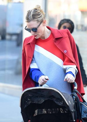 Cate Blanchett in a red coat out in New York
