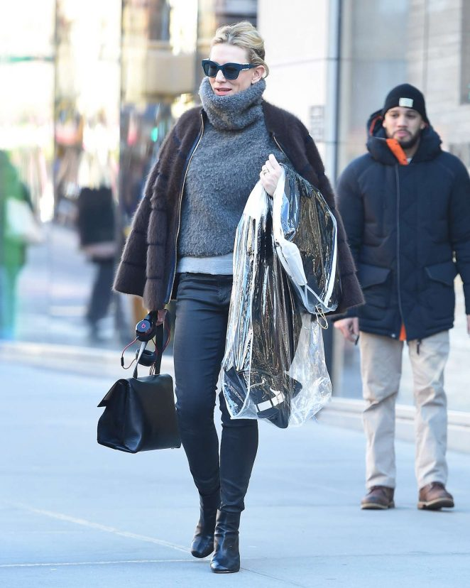 Cate Blanchett in fur coat out in New York City