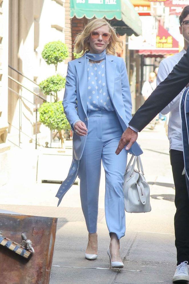 Cate Blanchett in Light Blue outfit in New York City