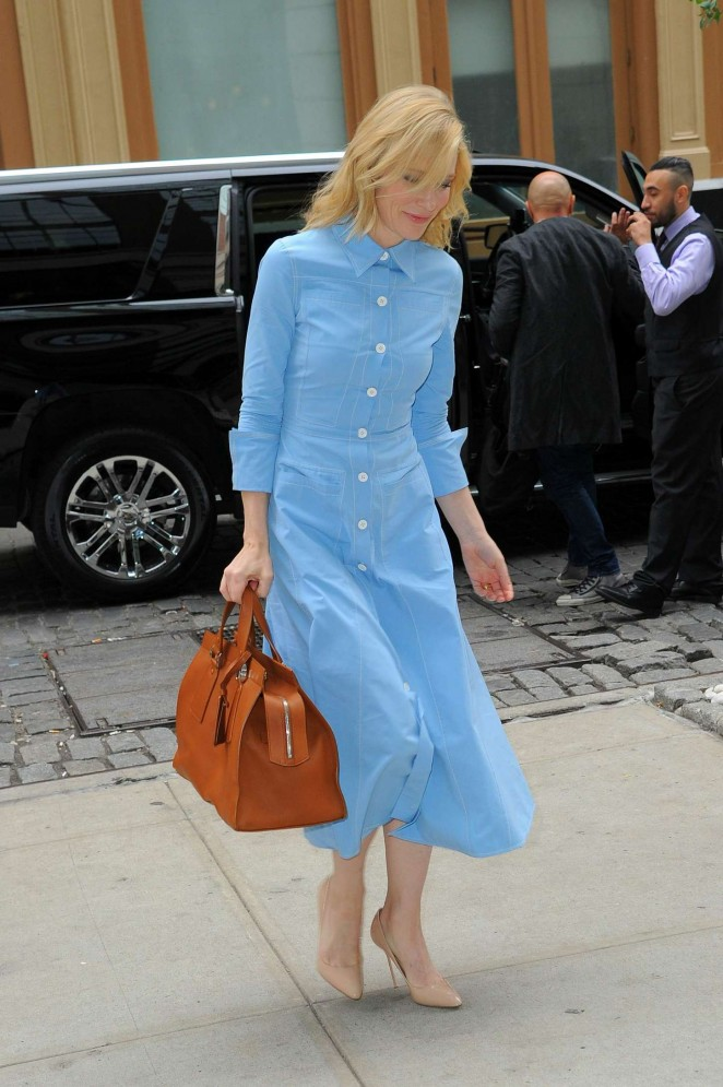 Cate Blanchett in Blue Dress out in New York
