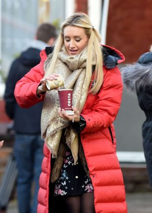 Catherine Tyldesley on set for 'Coronation Street' in Manchester