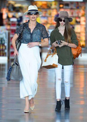 Catherine Zeta Jones and daughter Carys Douglas at JFK Airport in NYC