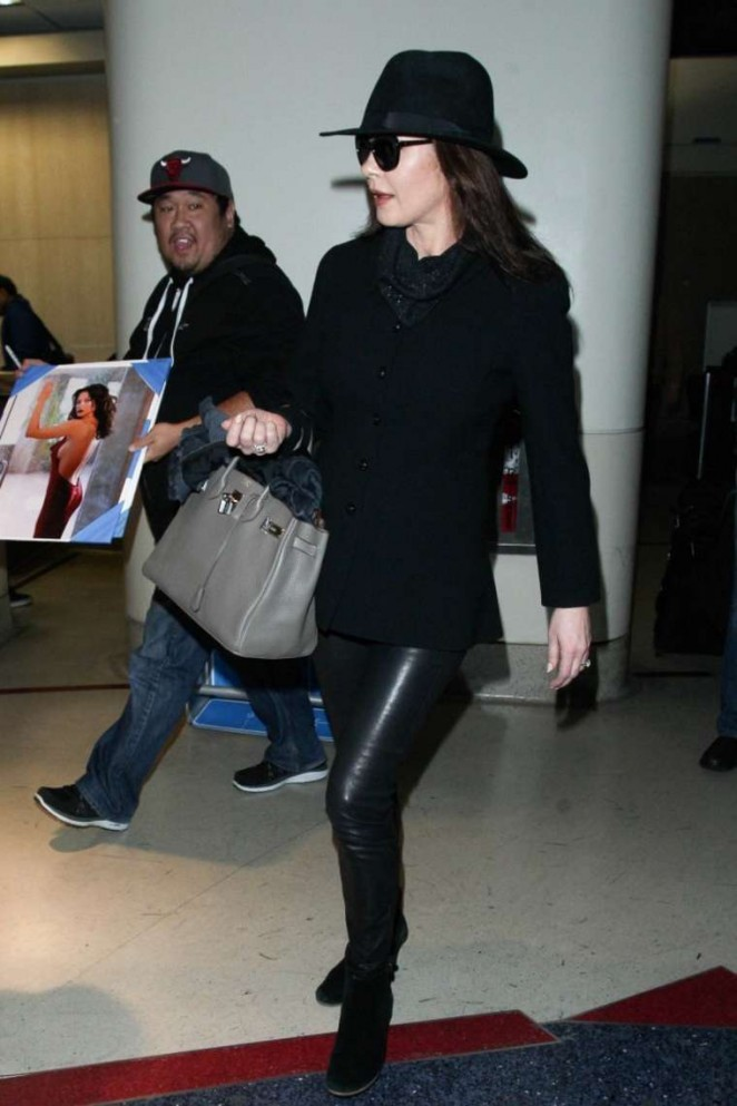 Catherine Zeta Jones in Leather Pants at LAX Airport in LA