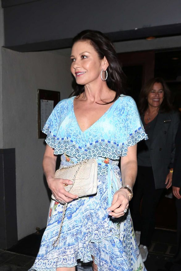 Catherine Zeta Jones in Pale Blue Dress at The Grill in Beverly Hills