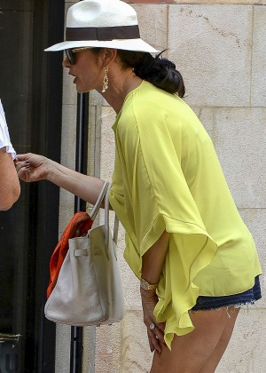Catherine Zeta Jones in Shorts Out in Palma de Mallorca