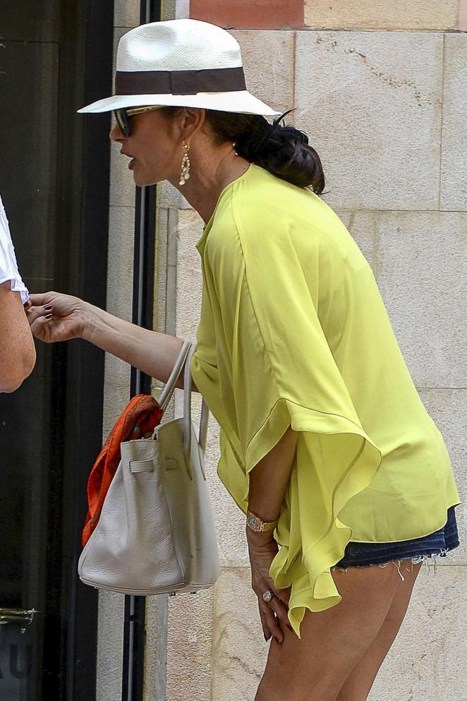 Catherine Zeta Jones in Shorts Out in Palma de Mallorca