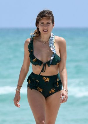 Cathy Fischer in Green Bikini on Miami Beach