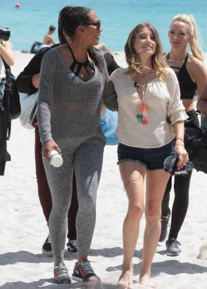 Cathy Hummels and Barbara Becker on the beach in Miami