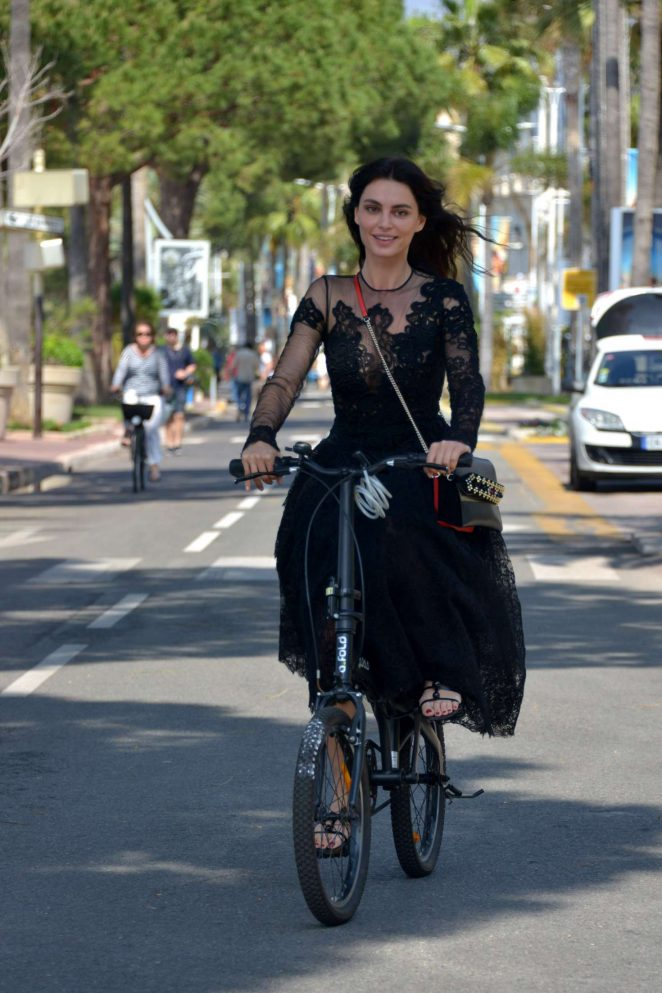 Catrinel Marlon - Riding her bike in Cannes