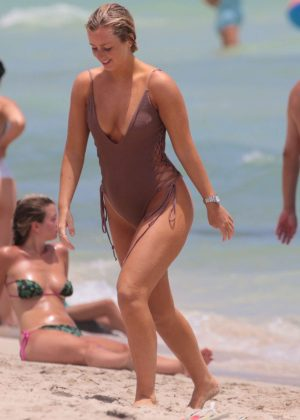 Cecilie Nordahl in Swimsuit at the beach in Miami
