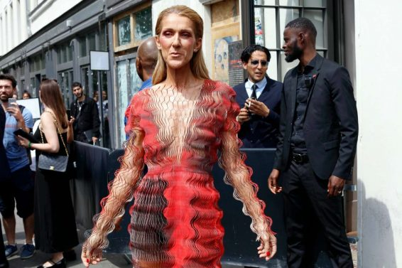 Celine Dion in a Crinkle Mesh Dress-09