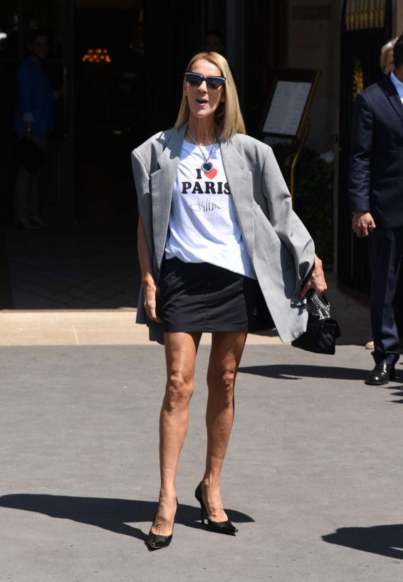 Celine Dion - Leaving Her Hotel in Paris