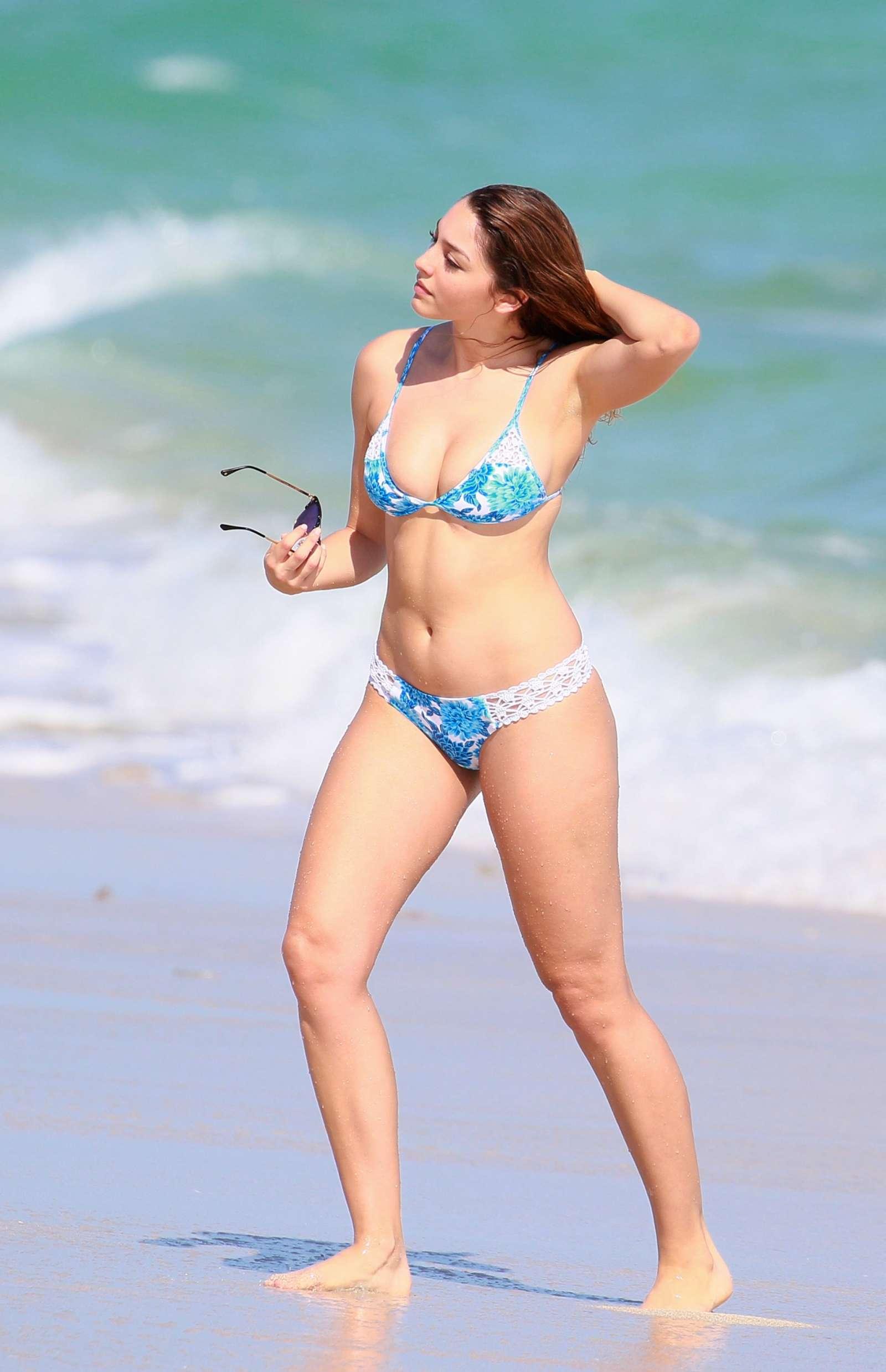 Celine Farach in Blue and White Bikini on Miami Beach