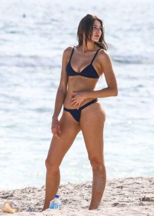 Celine Farach in Blue Bikini on the beach in Miami