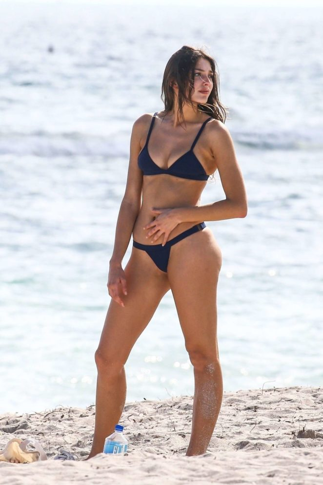Celine Farach in Blue Bikini on the beach in Miami