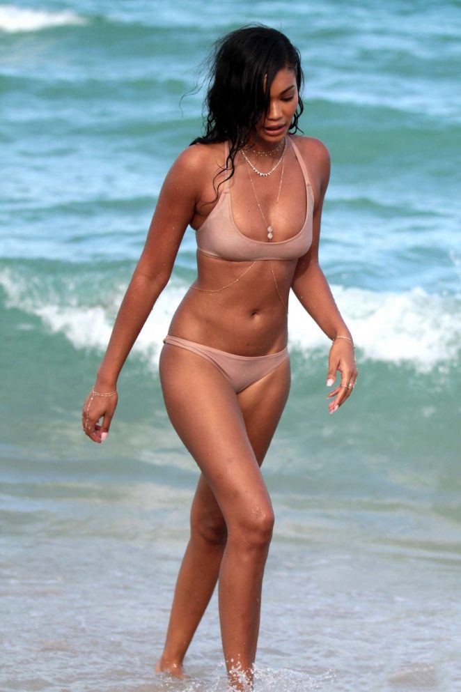 Chanel Iman in Bikini on the beach in Miami
