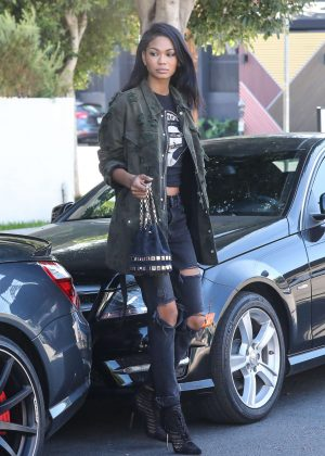 Chanel Iman in Ripped Jeans out in West Hollywood