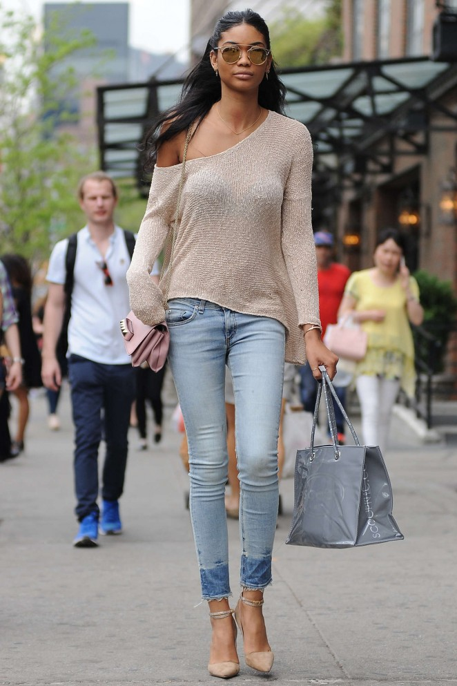 Chanel Iman in Tight Jeans Out in NYC
