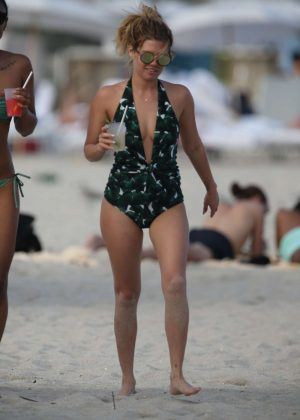 Chanel West Coast in Green Swimsuit on Miami Beach