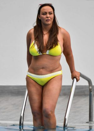 Chanelle Hayes in Yellow Bikini on the pool in Spain
